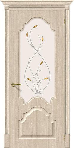 Межкомнатная дверь с покрытием ПВХ Скинни-33 / беленый дуб