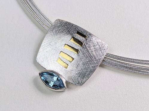Two Tone Necklace with Topaz