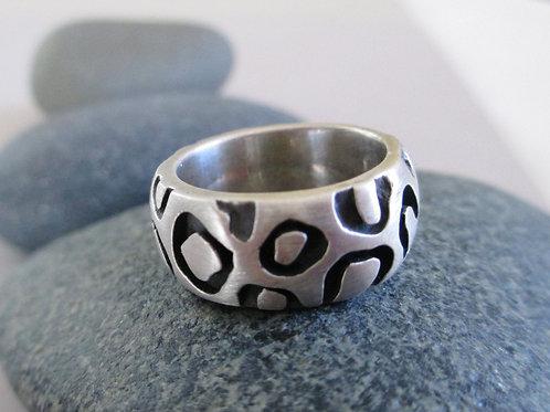 Wide Leopard Sterling Silver Band, Animal Print Statement Ring, Jaguar, Big Cat