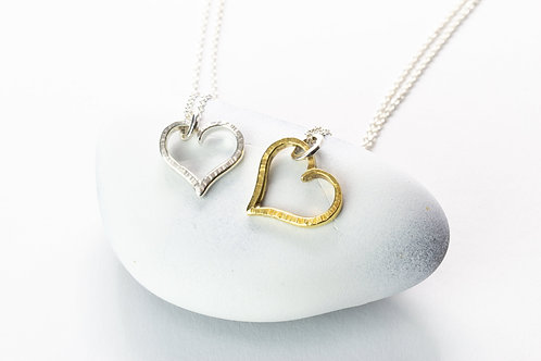 Silver Open Heart Necklace with Hammer Texture, Silver Heart Necklace, Gold Hear