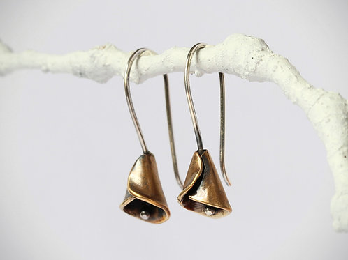 Calla Lily Flower Earring, Brass and Sterling Silver Earring, Oxidized, Botanica