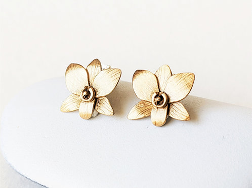 Orchid Flower Post Earrings, Brass or Silver Studs, Botanical Jewelry, Brushed M