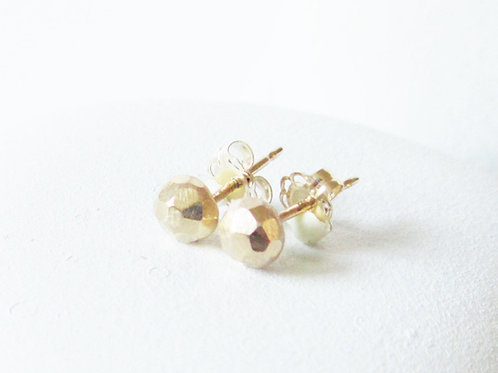 Solid Gold Stud Earring /  Faceted Gold Stud  / 14 kt Gold Stud earring