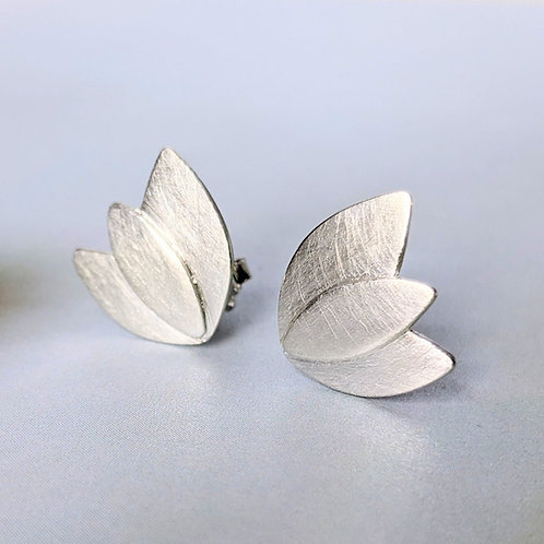 Medium Brass or Silver Leaf Post Earrings, Brushed Sterling Silver or Brass, Win