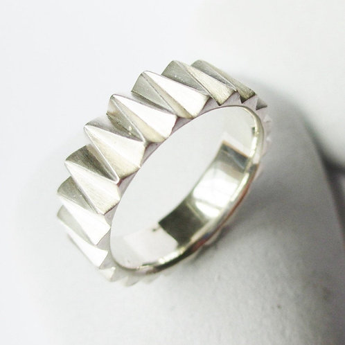 Industrial Men's Sterling Silver Band, Geometric Band Ring, Unique Texture Steam