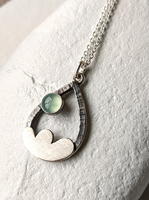 Cloud Pendant Necklace with Blue Chalcedony, Full Moon Necklace,  Hammered Drop
