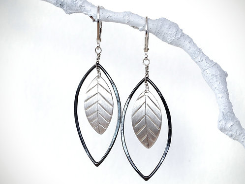 Lightweight Dangly Sterling Silver Leaf Earrings, Nature Inspired, Oxidized and