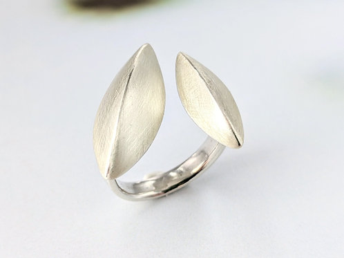 Pod Ring Sterling Silver, Adjustable Size Open Shank, Brushed Silver Ring, U Sha