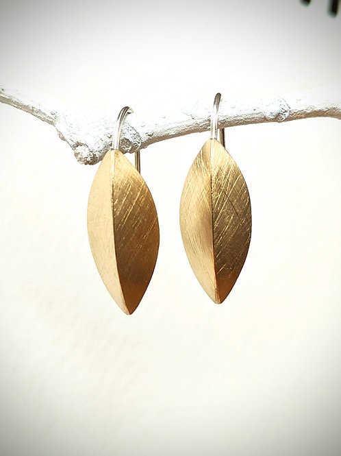 Brushed Brass Pod Earrings, Sterling Silver Earwire, Minimalist Jewelry, Gold Ea