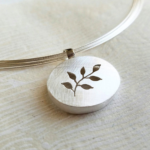 Nature Inspired Silver Necklace, Brushed Pendant on a Sterling Neck Wire