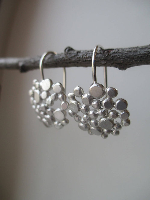 Silver Bubble Earrings, Round Circle Dots with Sterling Silver Earwire, Minimali