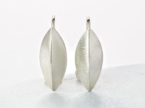 Medium Pod Earring, Brushed Sterling Silver Earrings with Earwire, Beech Nut, Mi