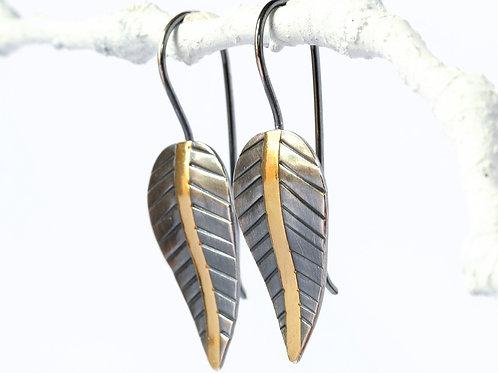 Silver and Gold Leaf Earrings, Keumboo Earrings, Handmade Two Tone Earrings with