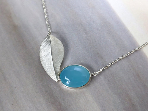 Blue Chalcedony Leaf Necklace, Brushed Sterling Silver and Glacier Blue Chalcedo