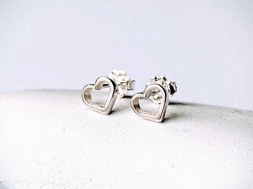 Heart Stud Earring, Silver Heart Earring, Silver Heart Post
