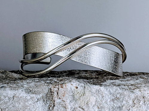 "Silver Wave Bracelet  /  Unique Sterling Silver Cuff Bracelet /  1 1/2"" Wide Cuf"