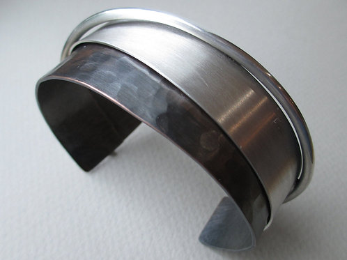 Mixed Metal Cuff Bracelet / Copper and Silver Cuff Bracelet / Hammered Texture B