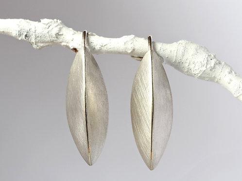 Large Pod Earrings, Brushed Silver Earrings with Earwire, Sterling Silver, Beech