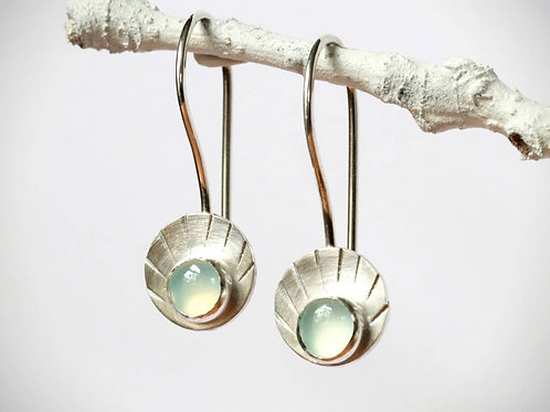 Circle Drop Earrings with Chalcedony or Garnet, Blue Chacedony Cabochon Earrings