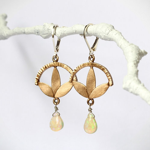 Opal Flower Drop Earring, Brass with Leverback