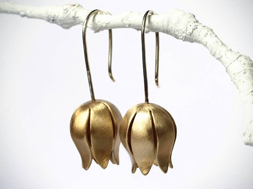 Large Tulip Flower Earring, Brushed Sterling Silver and Brass, Botanical Earring