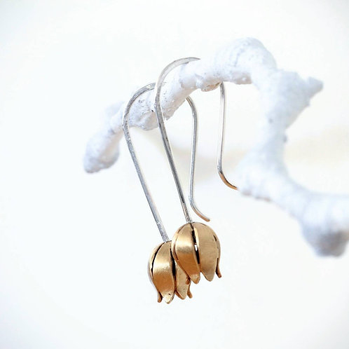 Small Tulip Flower Earrings, Brushed Sterling Silver and Brass , Botanical Earri