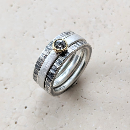 Stacking Rings with 4mm Diamond
