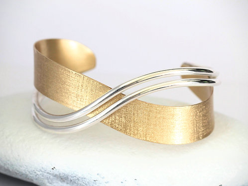 Two Tone Cuff Bracelet , Sterling Silver and Brass Cuff Bracelet, 1.25 Inches Wi