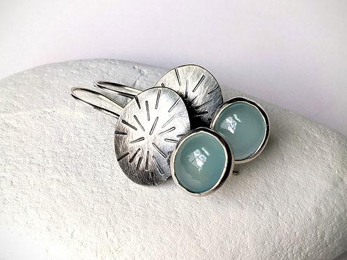Silver Starburst Earrings with Chalcedony, Blue Chalcedony Earrings, Oxidized Si