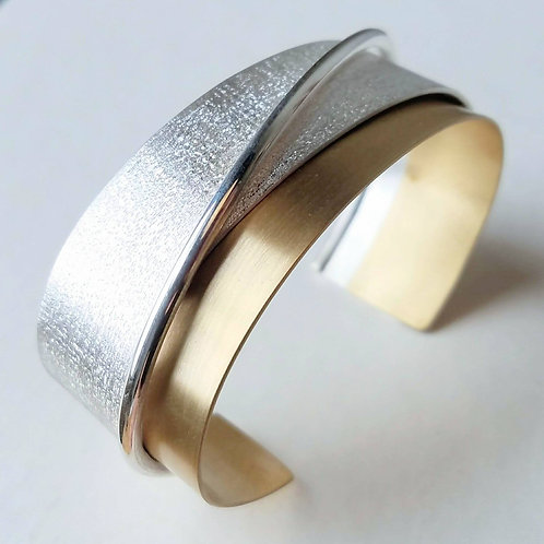 Two Tone Cuff Bracelet / Sterling Silver and Brass Cuff Bracelet /  1.5 Inches W