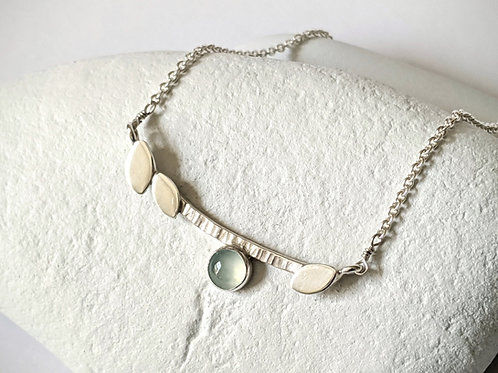 Chalcedony Branch Necklace, Sterling Silver Necklace, Blue Chalcedony, Silver Ba