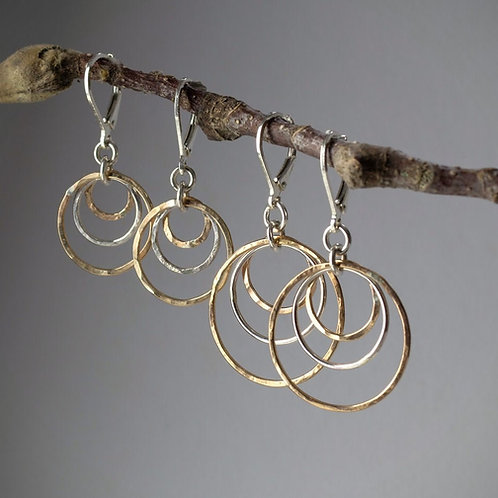 Two tone Hoop, Gold Filled and Sterling Silver Hoop, Leverback Earring,  Hammere
