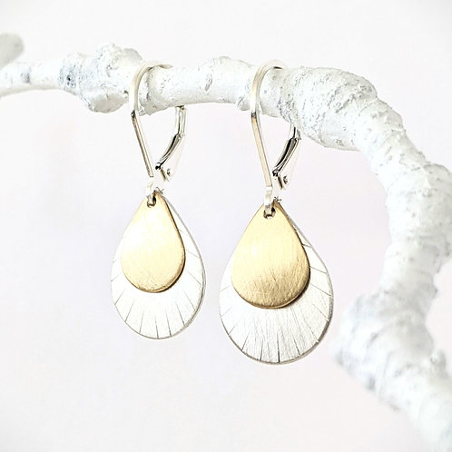 Brushed Two Tone Drop Earring / Mixed Metal Earring / Sterling Silver Leverback/