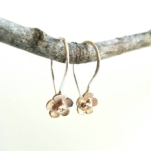 Two Tone Flower Earring, Nature Inspired Brass and Silver Dangle with Earwire, B