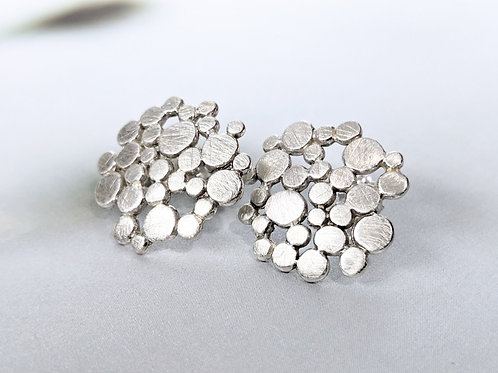 Silver Bubble Post Earrings, Brushed Sterling Silver Studs, Round Circle Dots, M