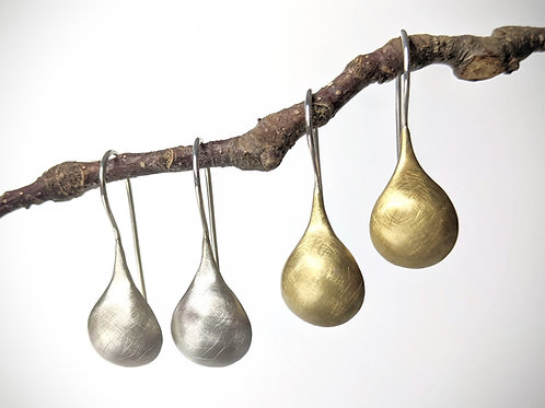 Brushed Drop Earrings, Brass or Sterling with Silver Earwire, Gold Earrings, Gif