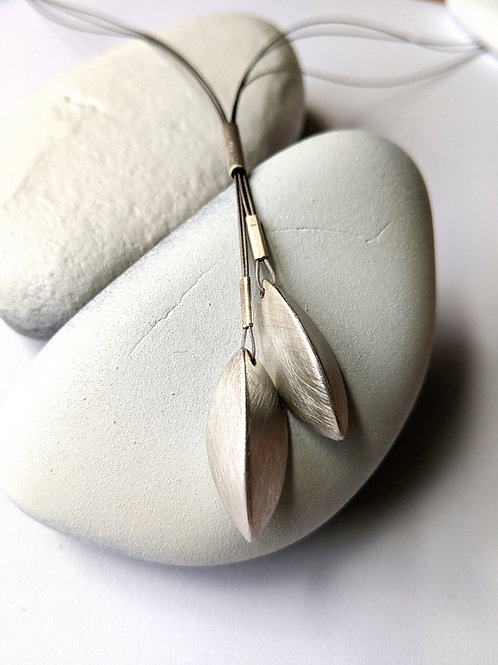 Pod Necklace, Lariat Style, Brushed Sterling Silver Pods and Steel Wire, Beech N