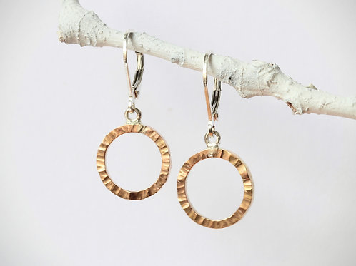 Small Gold-Tone Circle Earrings with Leverback, Hammered Finish, Handmade