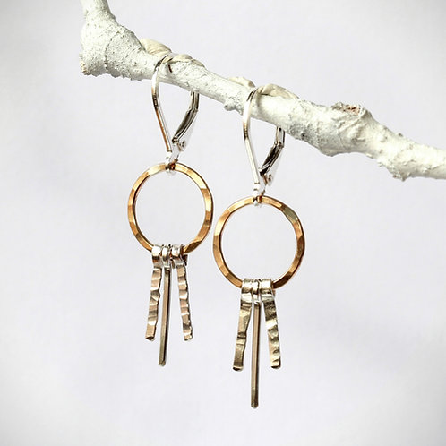 Two Tone Fringe Earrings, Two Tone Hoop Earring with Lever Back, Gold Filled Ear
