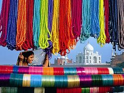vista del Taj Mahal dal fiume Yamuna