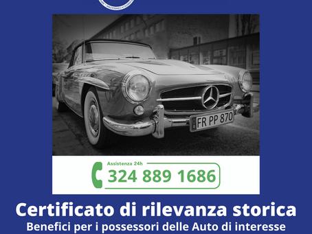 Auto d'epoca ed il certificato di Rilevanza Storica