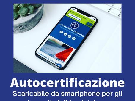 Autocertificazione scaricabile anche da Smartphone