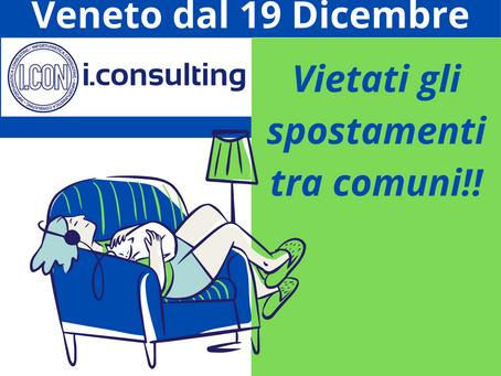 Veneto, dal 19 Dicembre chiusi i Comuni