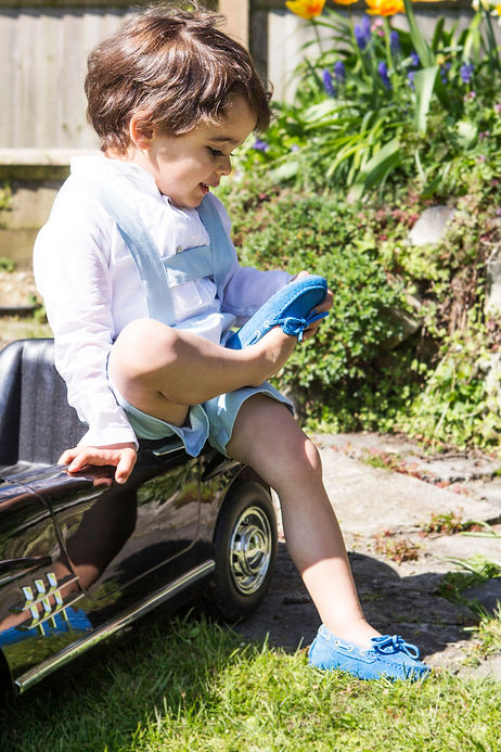 Little driving loafers in sapphire blue