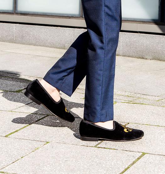 fleur de lis velvet slip on shoes