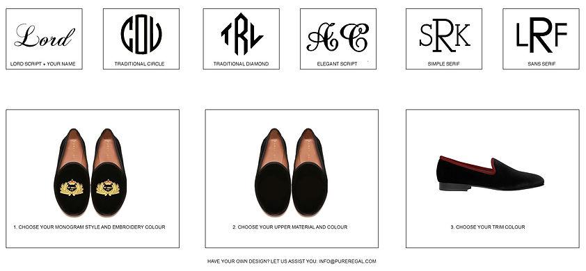 Pure Regal bespoke design shoe size chart
