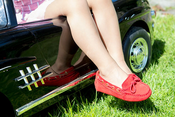 Little driving loafers in scarlet red