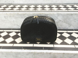 Luxe accessory toiletry bag in python leaher