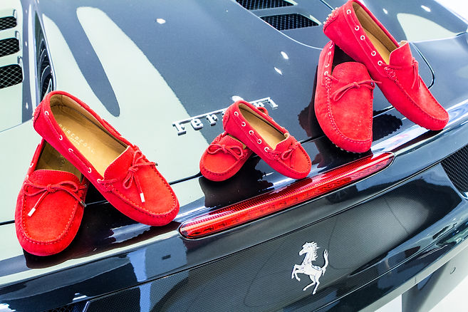 Red driving loafers for sir, lady and little
