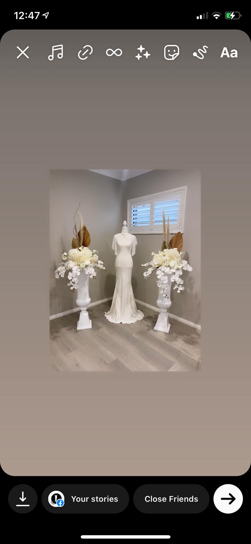 White Urns with Custom Silk Florals